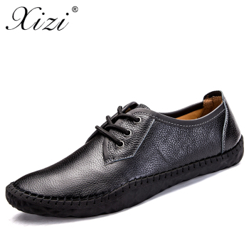 XIZI 2018 New 100% Genuine Leather Men Comfortable Casual Shoes Male Quality Split Leather Shoes Flats Hot Sale Moccasins Shoes
