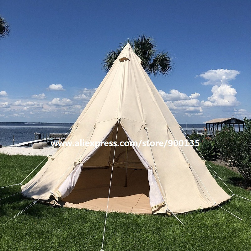 new style dee3e b39aa US $369.0 |Outdoor Cotton Canvas Family Camping Tent Indian Tipi Tent for  Adults-in Tents from Sports & Entertainment on Aliexpress.com | Alibaba ...