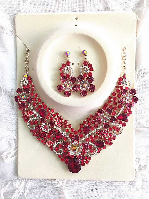 do dower 2017 High Quality Multicolor Flowers Crystal Necklace Earrings for Women Wedding Jewelry Sets Gold Bridal Jewelry Sets