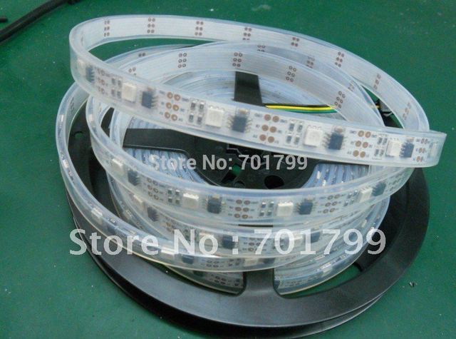 5m led digital strip,DC5V input,WS2811IC(256 scale);32pcs IC and 32pcs 5050 SMD RGB each meter;waterproof in tube