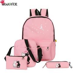 4 шт./компл. 2018 холщовый женский рюкзак школьный рюкзак с принтом милый кот школьная сумка для девочек-подростков Sac Dos Mochila Feminina