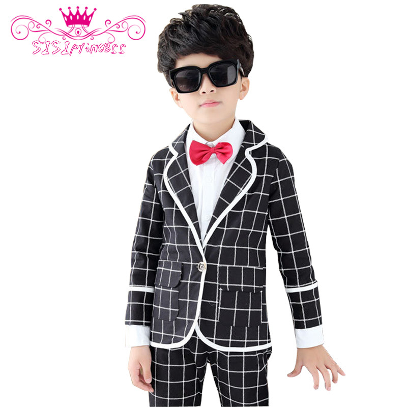 цена 1--14 Years Old Children Clothing Set 2015 Boys Kids Family Clothing Patchwork Plaid Suit Formal For Party Clothing Set 10 онлайн в 2017 году