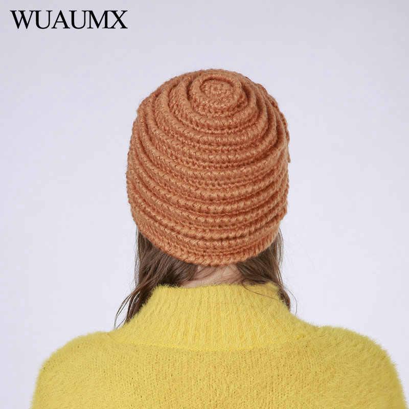 Wuaumx Mũ Mùa Đông MỚI Cho Phụ Nữ Rắn Vàng Màu Xanh Skullies Beanies Hat Ấm Len Dệt Kim Hoa Cap Cho Phụ Nữ czapka zimowa