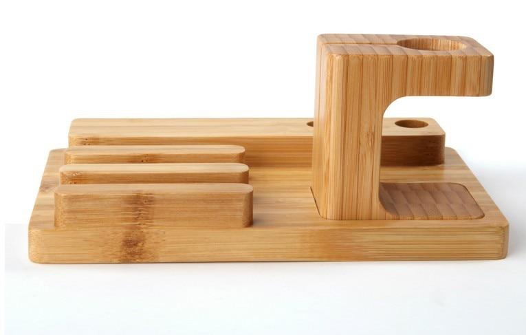 LYBALL Naturalne drewno Stojak biurkowy Bambusowy drewniany uchwyt - Części i akcesoria do telefonów komórkowych i smartfonów - Zdjęcie 5