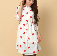 Vestidos Femininos 2015 Summer Fashion Cute Red Lips Print Stand Half Slevee Women Chiffon Dress