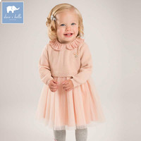 DB5482 Dave Bella Baby Girls Knitted Sweater Dress Children Autumn Winter Lolita Dress Toddler Birthday Party