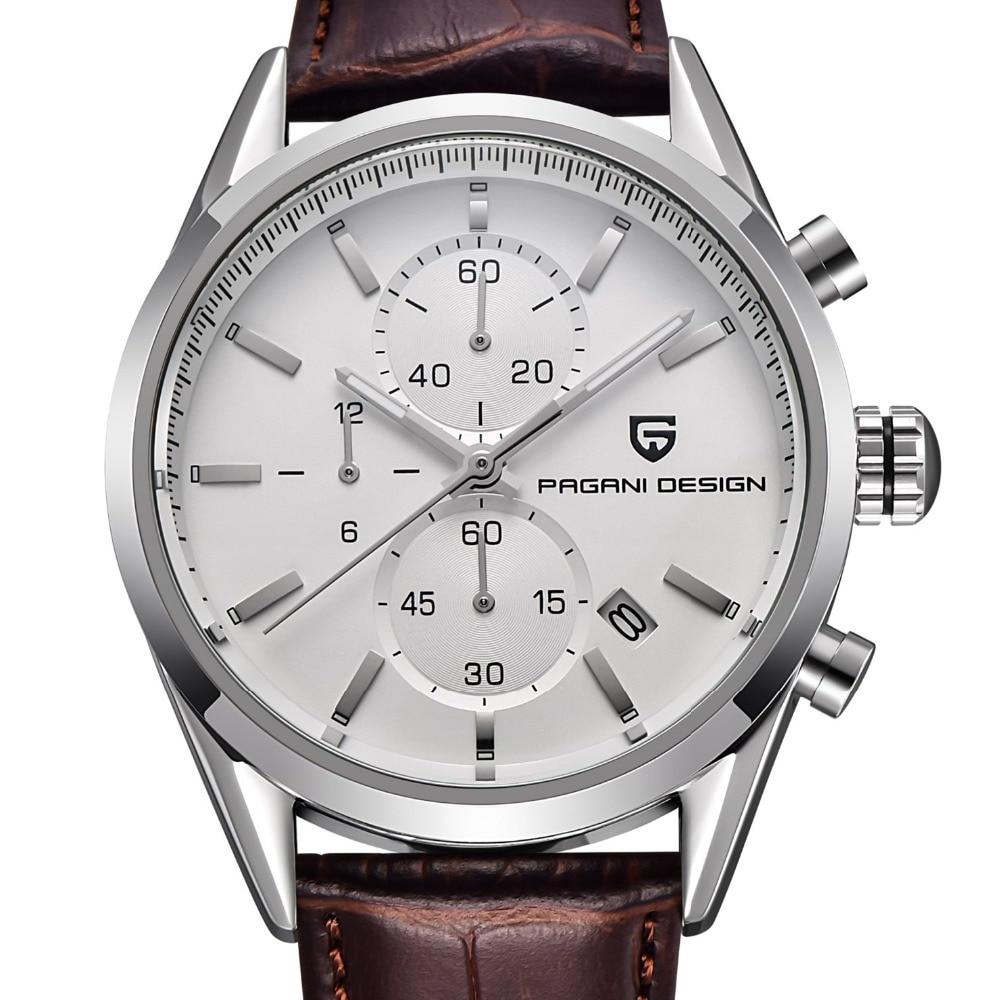 ФОТО 2017 Multifunction Fashion Sports Watches Men Dive 30m Genuine Leather Quartz Watch Luxury Brand PAGANI DESIGN Relogio Masculino