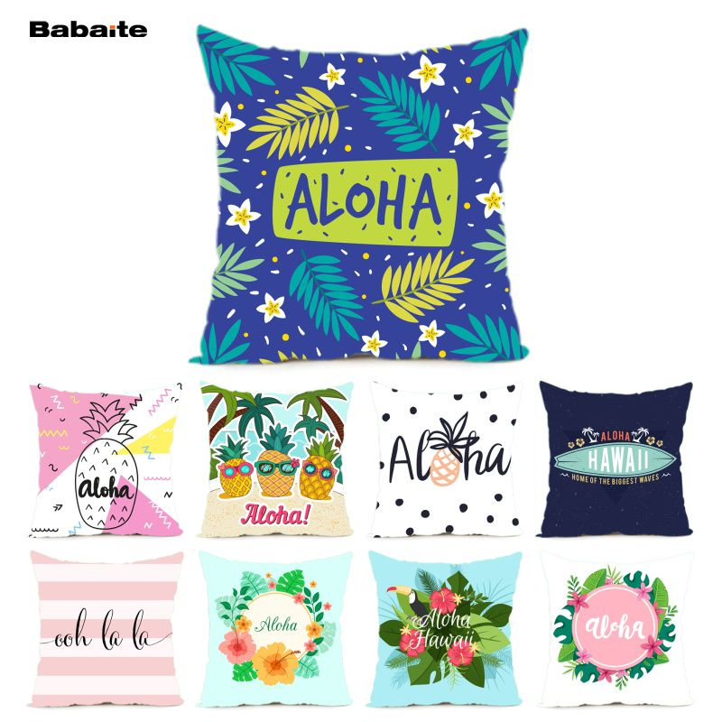 Babaite Tropical Style Aloha Hawaii Oh La La Zippered Cushion Cover Sofa Party Decoration Home Throw Pillow Case Twin Sides