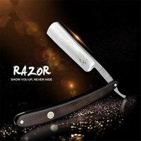 Folding Men Straight Edge Barber Razor Stainless Steel Blade High Quality Shaving Razor Hair Shaver Shaving Tool ebony Handle