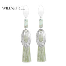 Wild&Free Boho Tassel Earring For Women Hanging Earrings With Natural Stones Trendy Alloy Big Drop Earings Jewelry Wholesale(China)