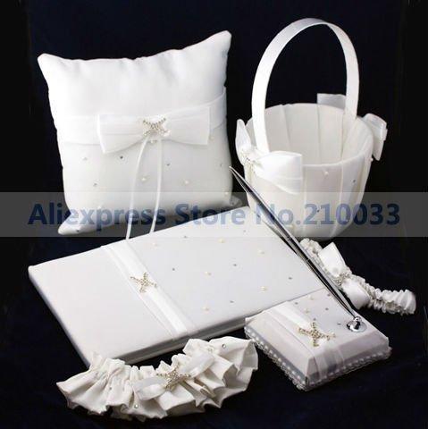 Free Shipping Wedding Party Stuff Supplies Sash Elegante Ribbon Pearl White Guestbook Pen Set Ring Pillow Flower Basket Garters