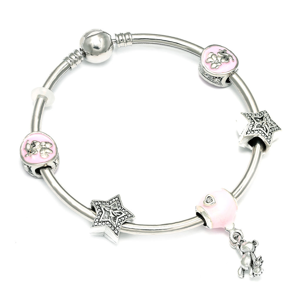 Dropshipping Silver Plate Mickey Charm Bracelets with Star Beads Brand Bracelet for Women Girl Children Jewelry Gift пандора браслет с шармами