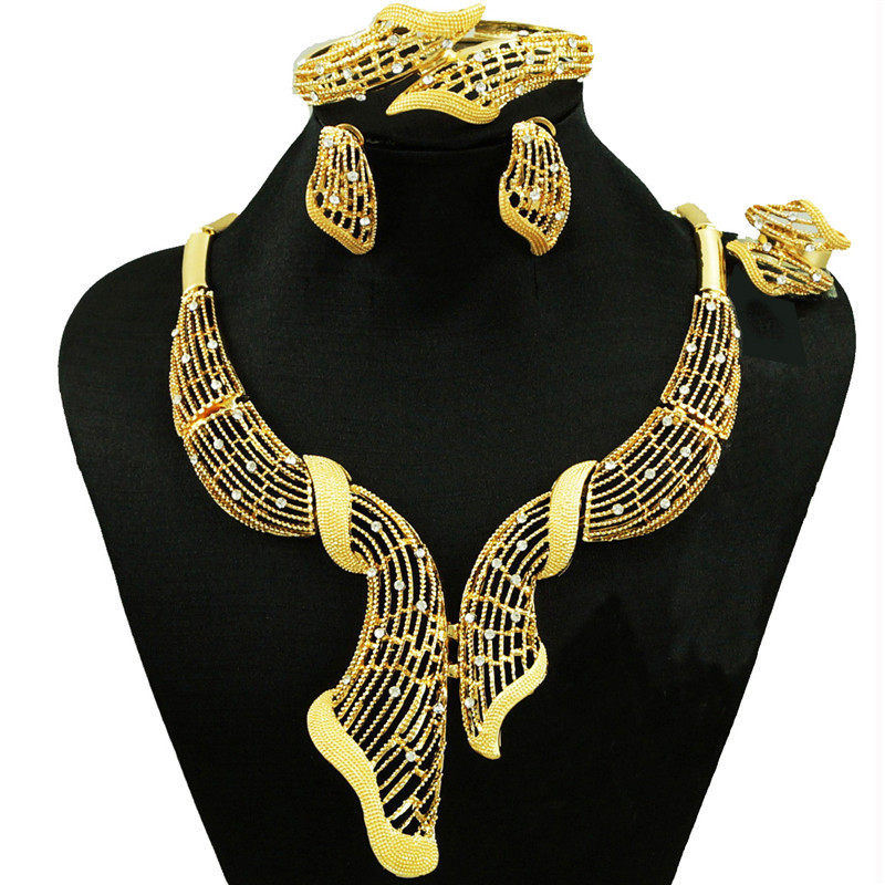 african jewelry sets high quality wedding party jewelry setS gold flower necklace women necklace statement necklace
