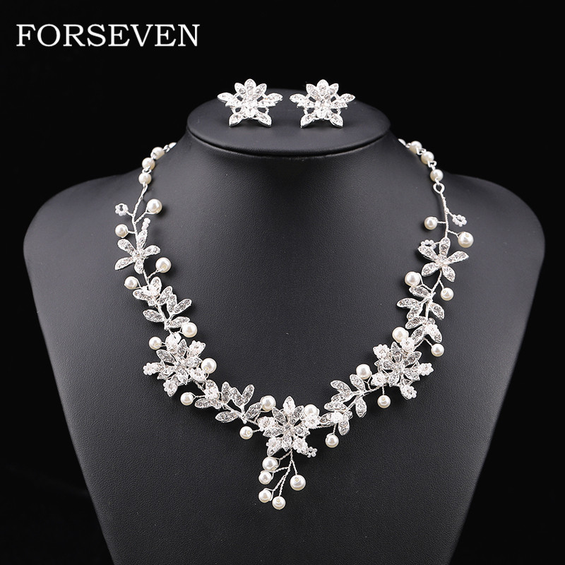 Pearl Rhinestone Flower Neckalce Earrings Wedding Jewelry Accessories For Bridal Jewelry sets Wedding Necklace Ear Clip