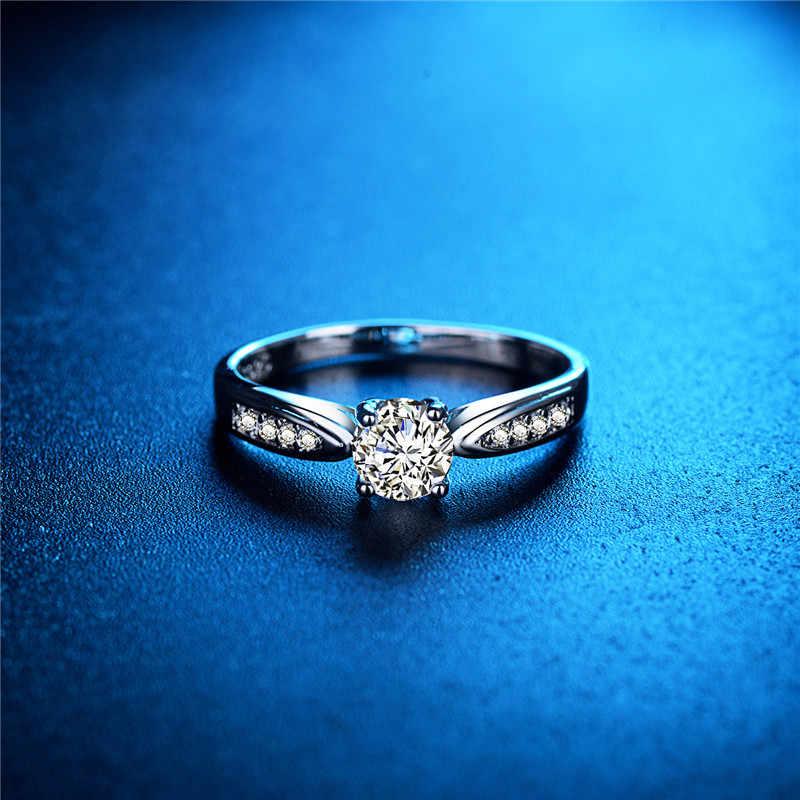 DODO Simples Anel de Zircão Pedra 585 Clássico Cor de Ouro Branco Jóias Anel de Cristal Anéis de prata Para As Mulheres Bijoux Bague Anillos Mujer dm051