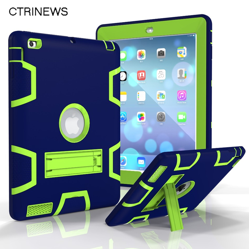 For New iPad 2017 Tablet Case Hybrid Shockproof Protect Armor Case For ipad 9.7 A1822 Holder Heavy Duty Kickstand Cover Shell tire style tough rugged dual layer hybrid hard kickstand duty armor case for samsung galaxy tab a 10 1 2016 t580 tablet cover