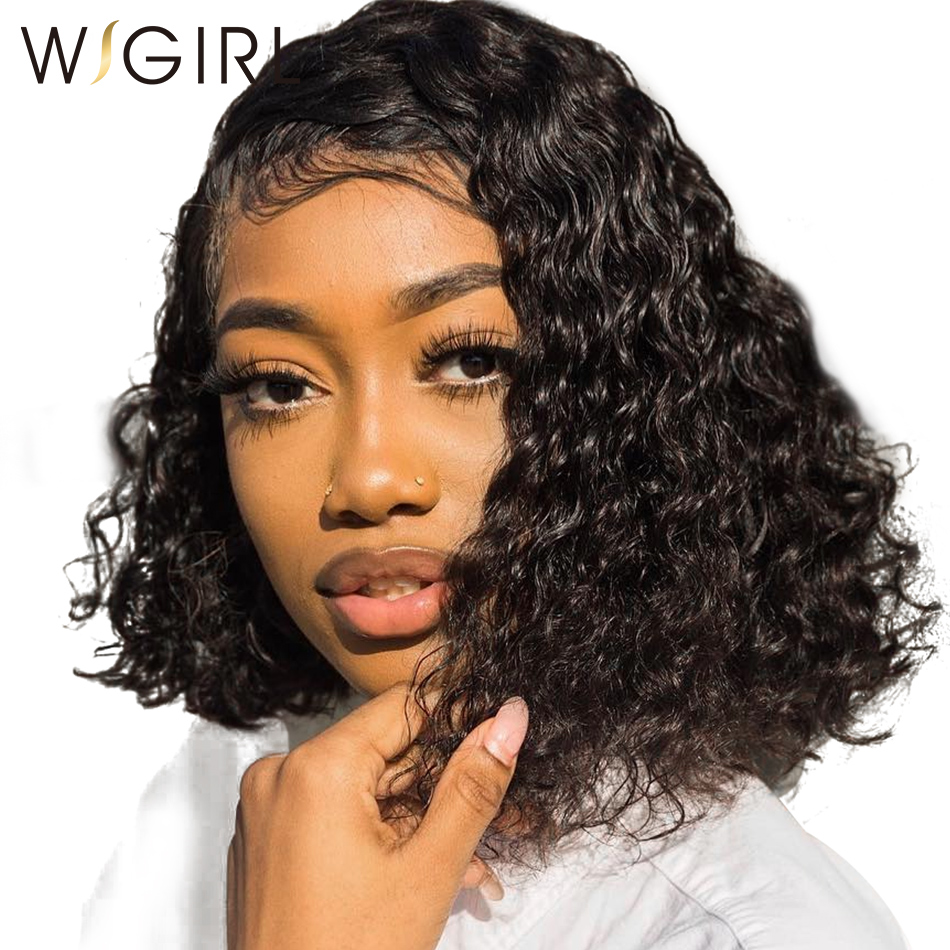 Wigirl Hair Afro Kinky Curly Hair Short Lace Front Human Hair Wigs Peruvian Deep Curly Wave