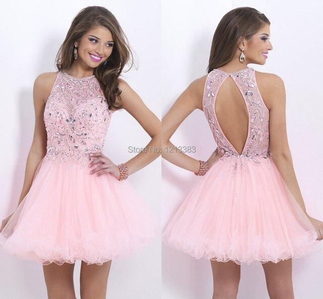 Por encargo de cuello alto Pink Tulle desfile vestidos graduación ...