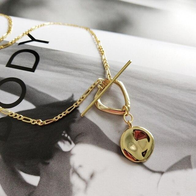 LouLeur 925 sterling silver nieregularna klamra wisiorek naszyjnik złoty wiatr przemysłowy kreatywny naszyjnik dla kobiet biżuterii prezent