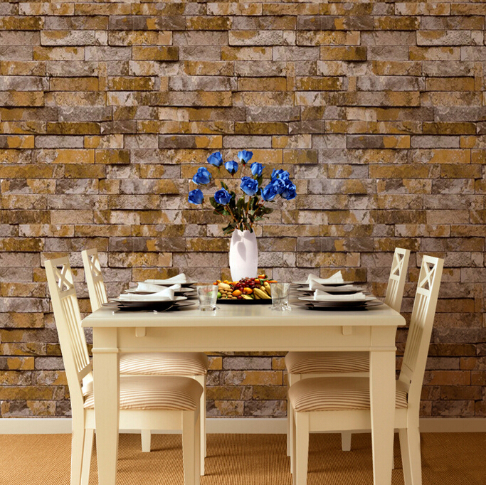 beibehang  wall paper roll Chinese style wallpaper popular wood brick stone wall paper home decoration 3D papel de parede roll modern vintage pvc 3d stone brick printing style vinyl waterproof pattern wallpaper wall paper roll papel de parede 10m