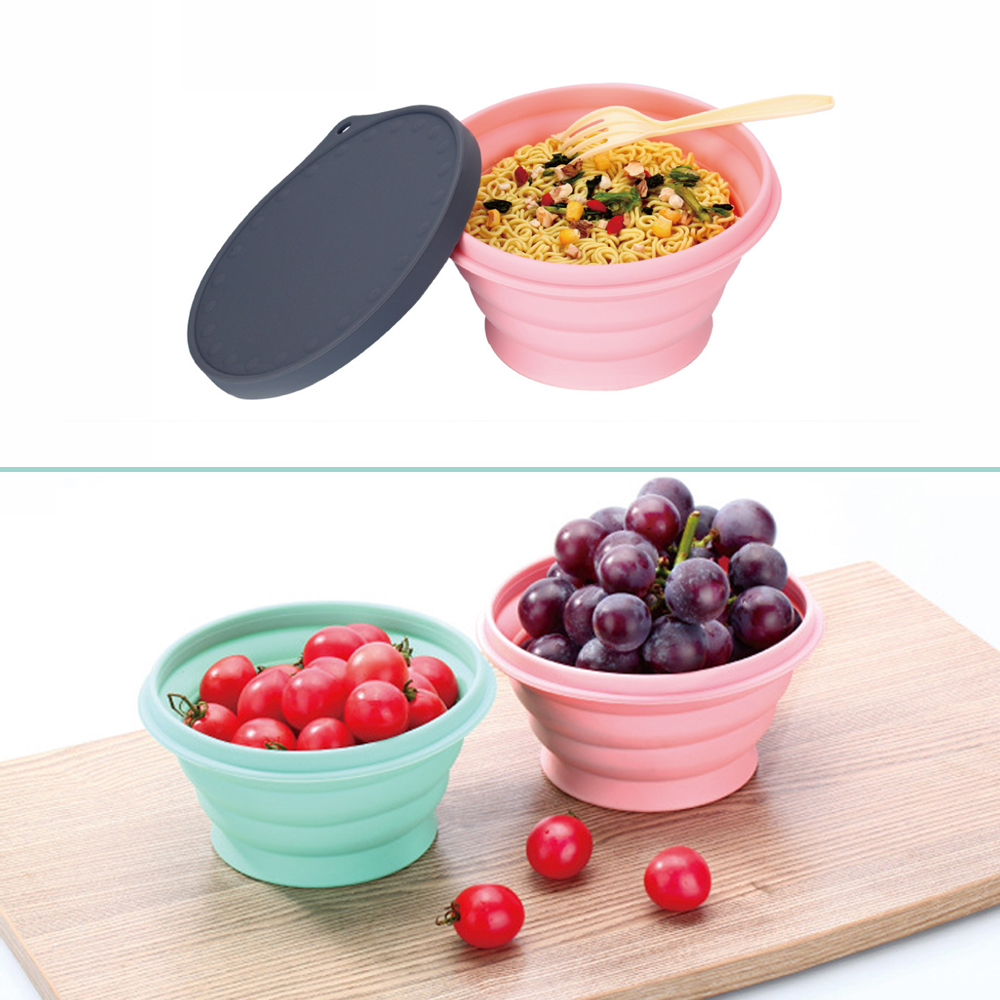 720ml Food Grade Collapsible Silicone Bowl Portable Foldable Outdoor Camping Hiking Folding Lunch Box Lunchbox Tableware