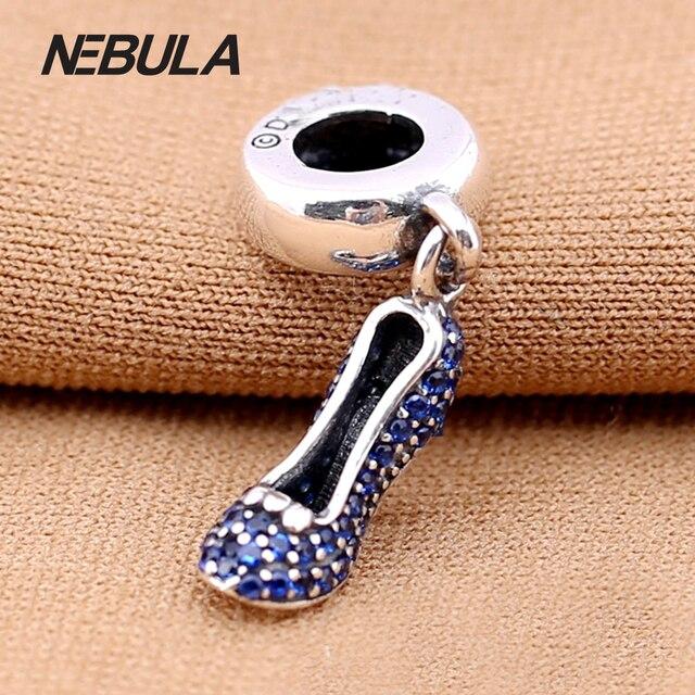 Original 925 Sterling Silver sapato Cinderela prata oscila com fantasia azul cubic zirconia Serve Para Pulseira Pandora Jóias DIY