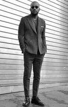 2017 Latest Coat Pant Designs Grey Tweed Men Suit Jacket Slim Fit 2 Piece Tuxedo Custom Style Suits Groom Prom Blazer Masculino