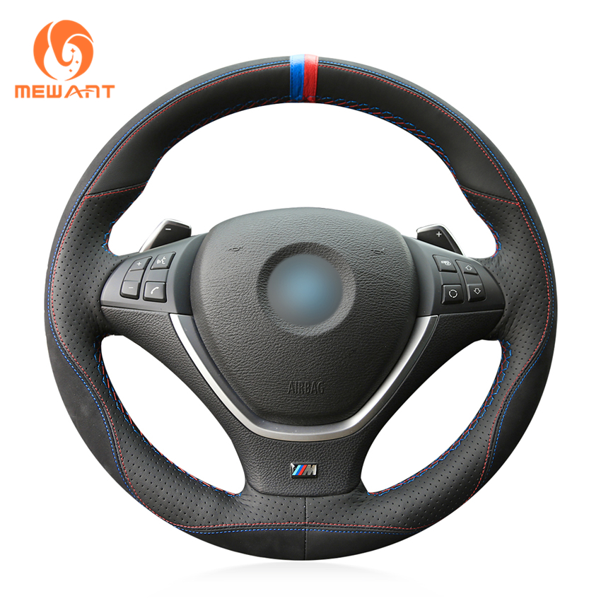 MEWANT Black Leather Black Suede 3D Style Hand Sew Wrap Car Steering Wheel Cover for BMW