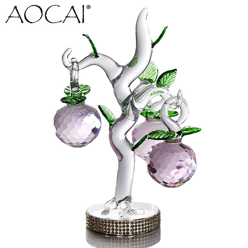 135mm PINK AOCAI Crystal apple tree christmas gift wedding crafts Home Decor Decoration Crafts Figurines Miniatures
