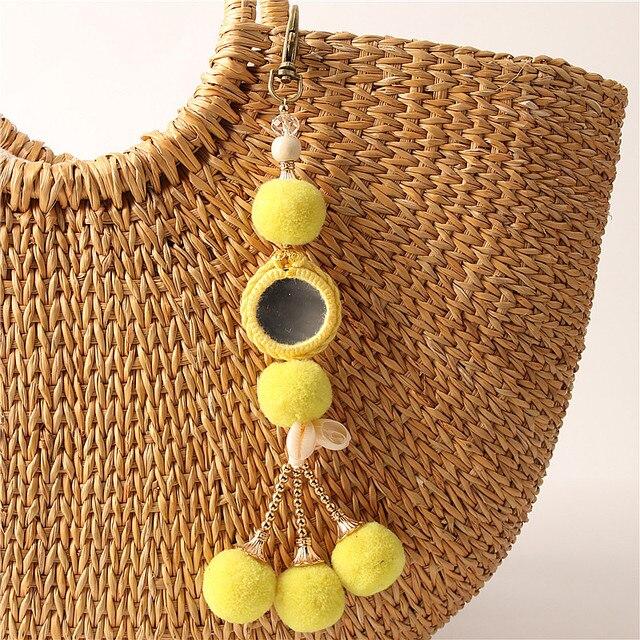 1 Pc Mini Fluffy Bola da Chave de Cadeia Bonito Boho Amarelo E2271 Pompom Keychain Saco Chaveiro Carro Das Mulheres