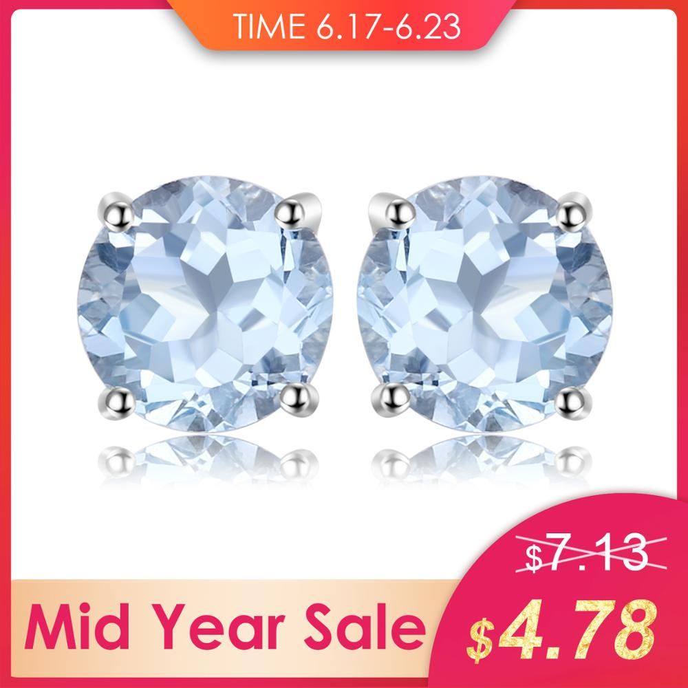JewelryPalace Round 2ct Natural Sky Blue Topaz Birthstone Stud Earrings Solid 925 Sterling Silver Fashion Fine Jewelry For WomenJewelryPalace Round 2ct Natural Sky Blue Topaz Birthstone Stud Earrings Solid 925 Sterling Silver Fashion Fine Jewelry For Women