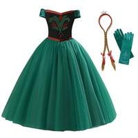 Girls Anna Princess Dress Child Sleeveless Beading Anna Elsa Cosplay Costume Kids Party Halloween Birthday Fancy Dress Clothes