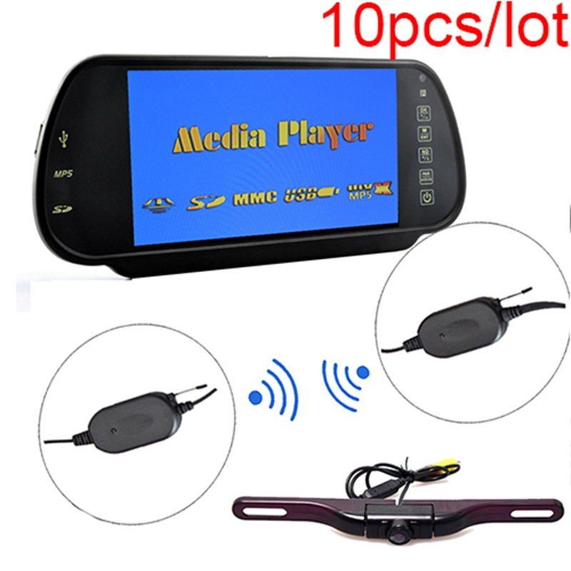 10pcs/lot Car 7 inch HD Rear View Mirror Monitor+ Wireless Plate Mount Backup Camera IR Night Vision Parking Kit