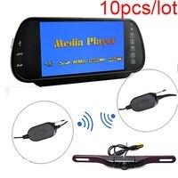 Car 7 Inch HD Rear View Mirror Monitor Wireless Plate Mount Backup Camera IR Night Vision