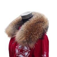 Winter Women Genuine Raccoon Fur Collar Muffler Real Fur Scarf Accessory Women's Real Fur Wrap Stole 48cm