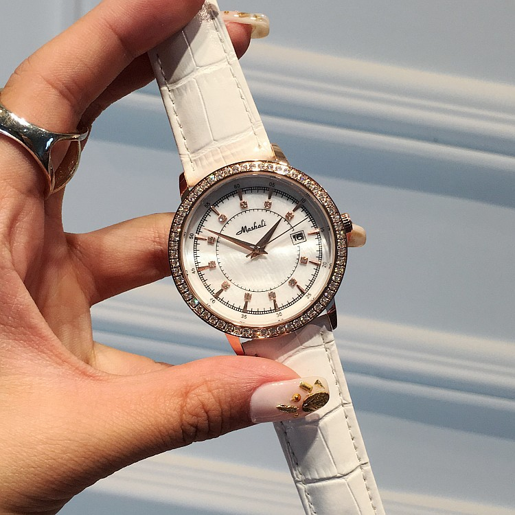 ФОТО Luxury Ladies Quartz Watch Women Rhinestone Leather Casual Dress Wristwatch Rose Gold Crystal Reloje Mujer Montre Femme OP001