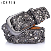 ECHAIN Rivet Vintage Luxury Designer Punk Belts Women High Quality Male Genuine Real Leather Men Waist