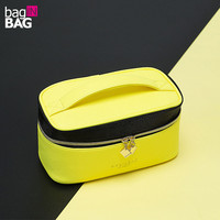 Designer Brand Women Cosmetic Bag Make Up Bag Yellow And Black Makeup Bag Organizer Neceser Maquillaje
