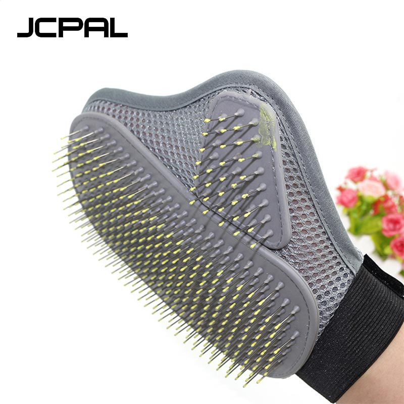 JCPAL Pet Brush Glove Comb Stainless Steel Grey Medium Long Hair Relax Muscles Pet Bath Cleaning