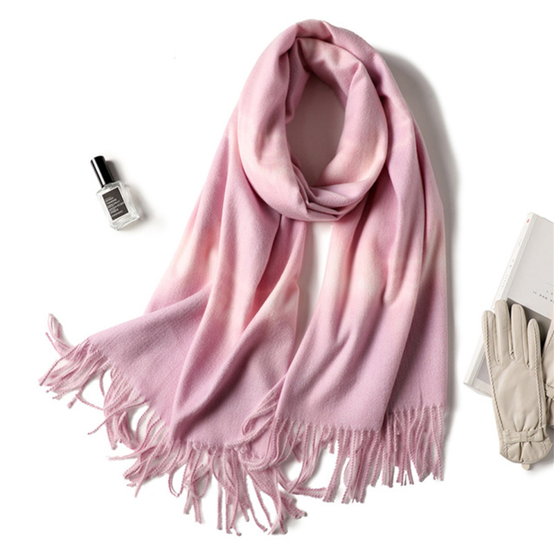 MANYUE-CO Women Winter Blanket Scarf Thicken Warm Soft Cashmere Scarves Pashmina Poncho Gradient Color Elegent Stoles Muffler
