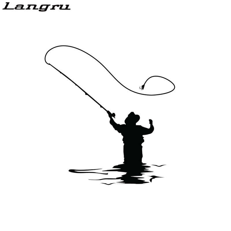 Langru Fly Fishing Sticker Car Decal Fun Fishing Vinyl Decor Decals Car Accessories Jdm
