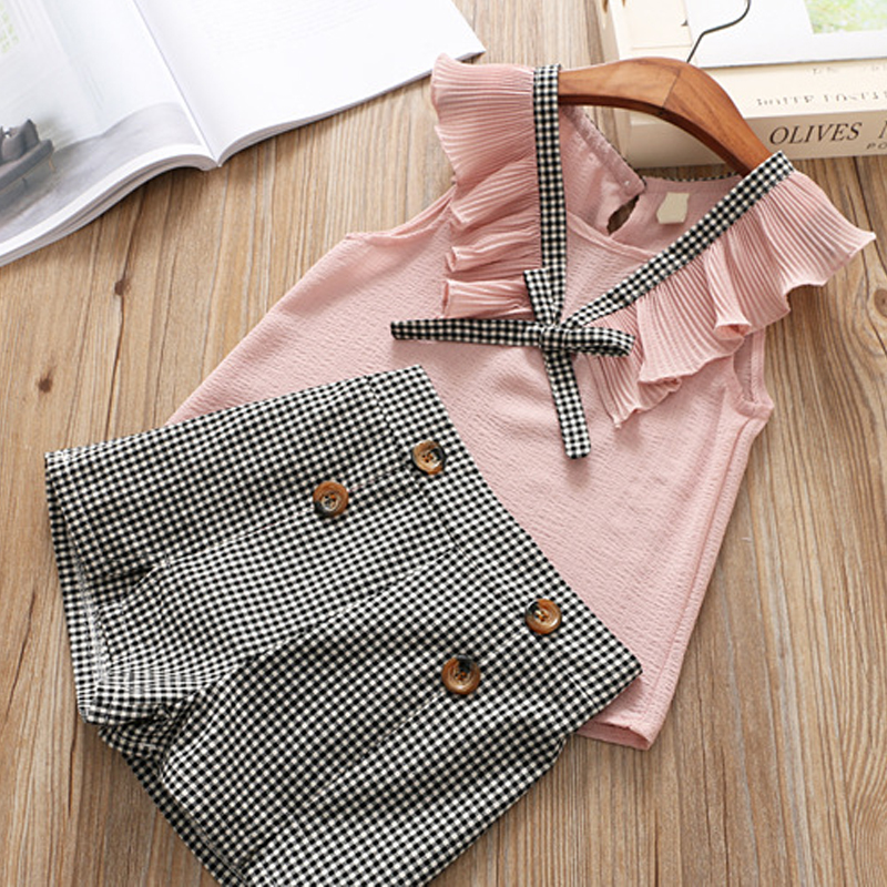 Brand 2018 Girls Clothes Sets Fashion Chiffon Stitching T-shirt + Buttoned Lattice Shorts Set Kids Clothing Sets Girls Clothes