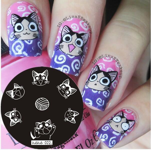 Nail Art Stamping Template Placa Gato Dos Desenhos Animados Bola de Fios Nail Art Stamp Template Imagem Placa hehe022