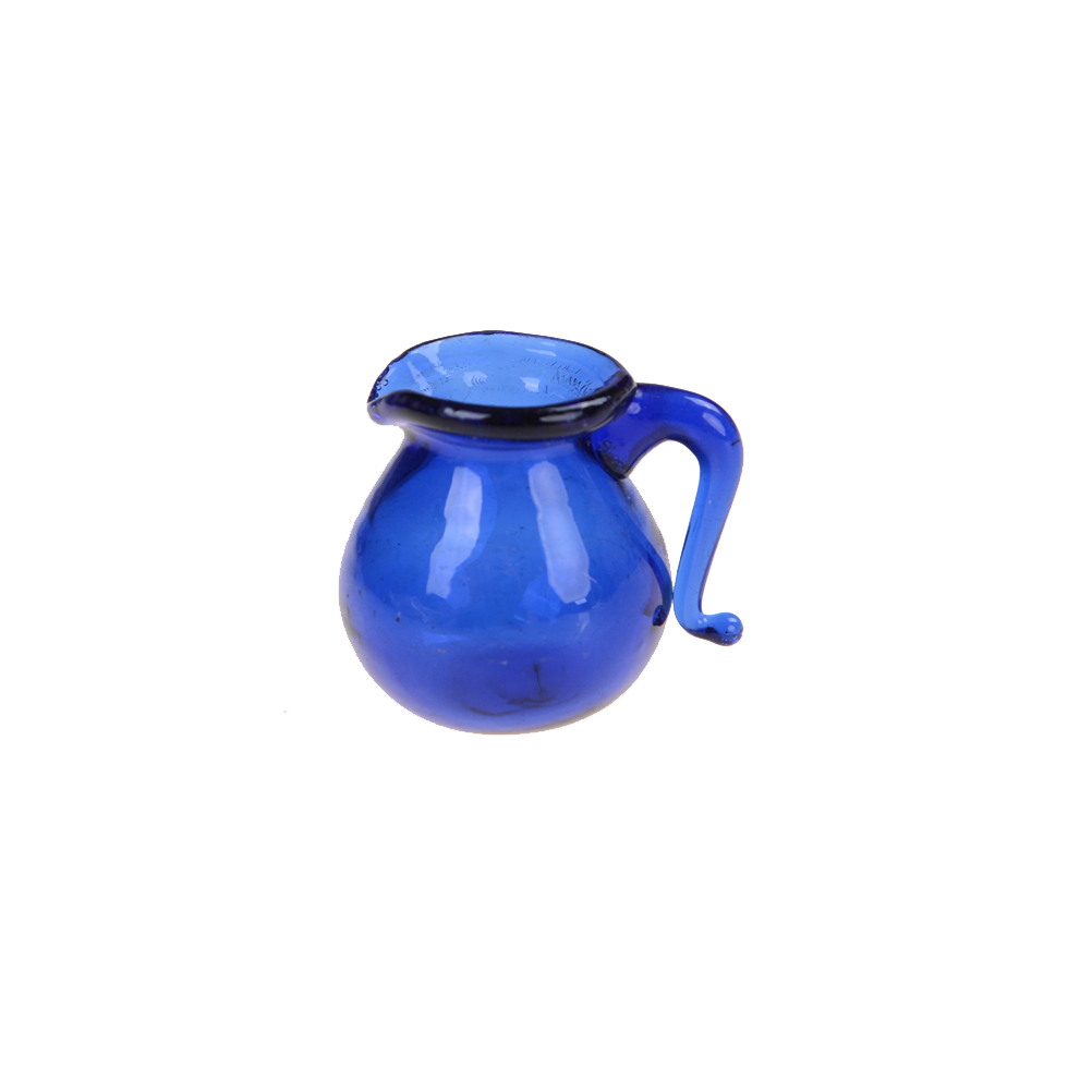 1pcs Miniature Dinning Room Blue Glass Water Pitcher Jar Pot Kitchen Toys 1/12 Scale Mini Water Jar Pot Dollhouse