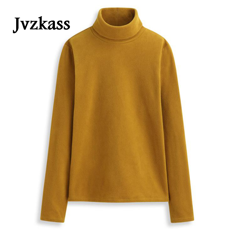 ee919f8e9f6 Jvzkass с длинными рукавами флис с высоким воротником женская джемпер плюс  бархатные толстые теплые сплошной цвет футболки большие размеры Z46