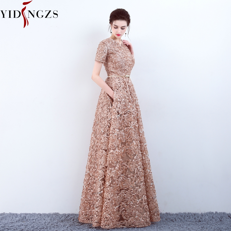 YIDINGZS With Pockets Fashion Khaki Lace Prom Dress Simple Floor-length Party Formal Evening Gown gown