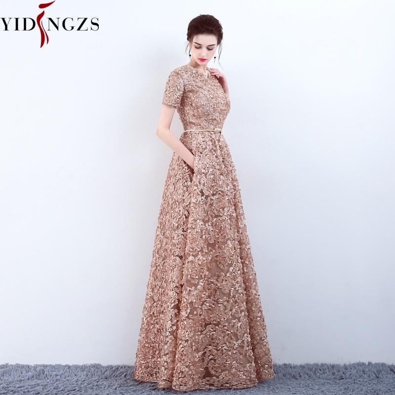 YIDINGZS Mit Taschen Mode Khaki Spitze Prom Kleid Einfache Boden-länge Partei Formal Abendkleid