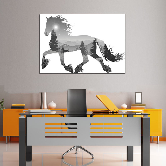 1 Pcs Modern Gray Running Horse Canvas Print Painting Abstract Animal Silhouette Forest Wall Art Picture