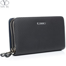 YINTE Leather Men's Clutch Wallets Business Black Bag Passport Wallet Phone Purse Men Leather Card Holder Men Wrist Bags T023-2