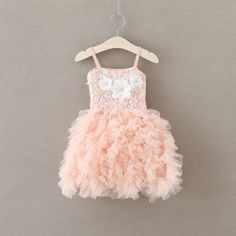 2016 Summer Kids Folds Cake Tutu Princess Dress Fashion Suspenders Flower Girl Dressees Birthday Party Baby